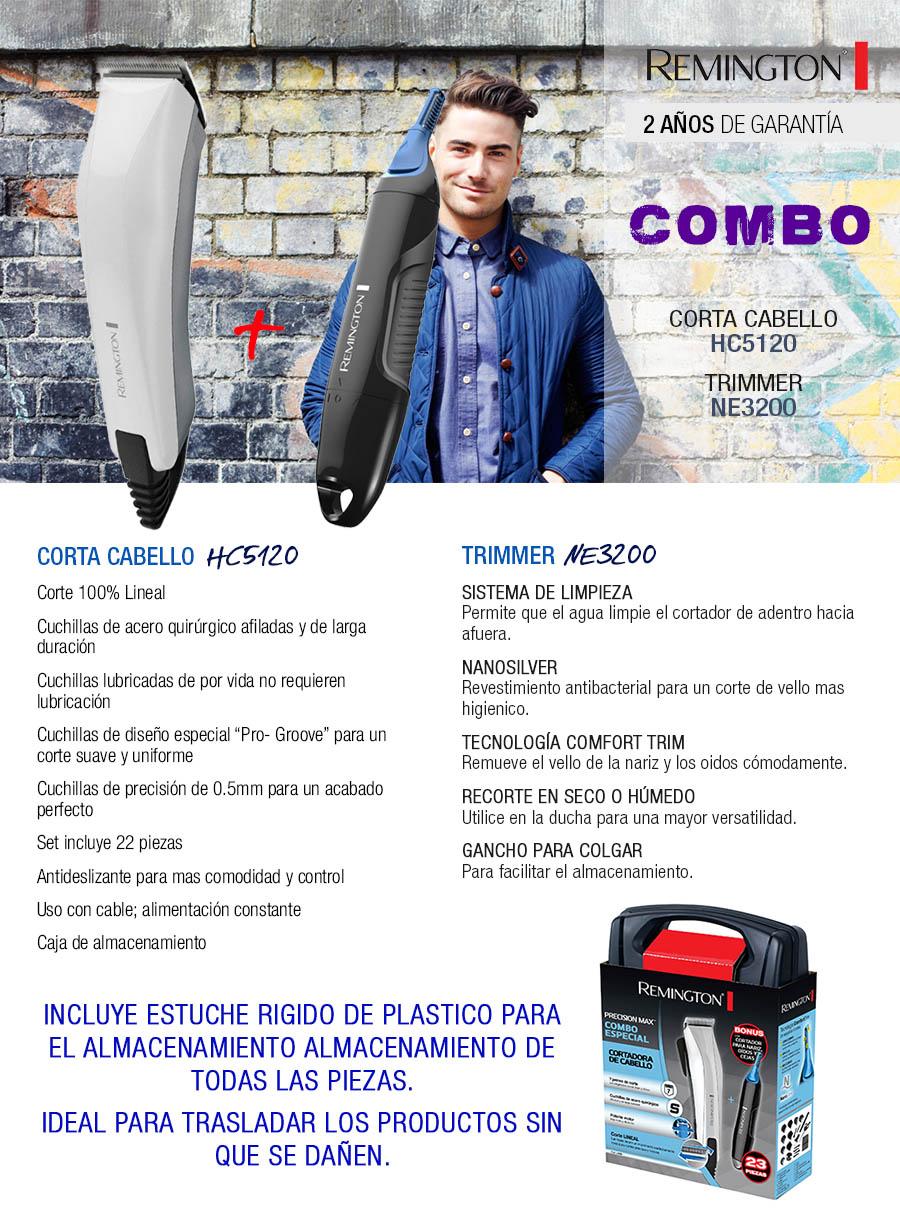 Corta Cabellos   Combo Remington Corta cabello HC5120 + Trimmer NE3200 ae4c33f2345f